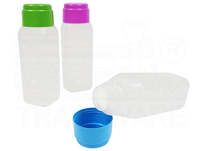 Square bottle with lid and drinking glass