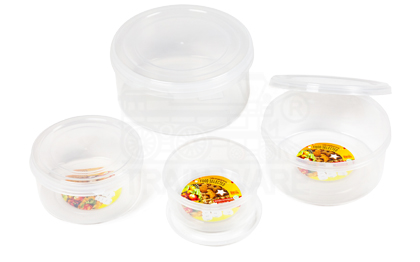 Small round plastic container