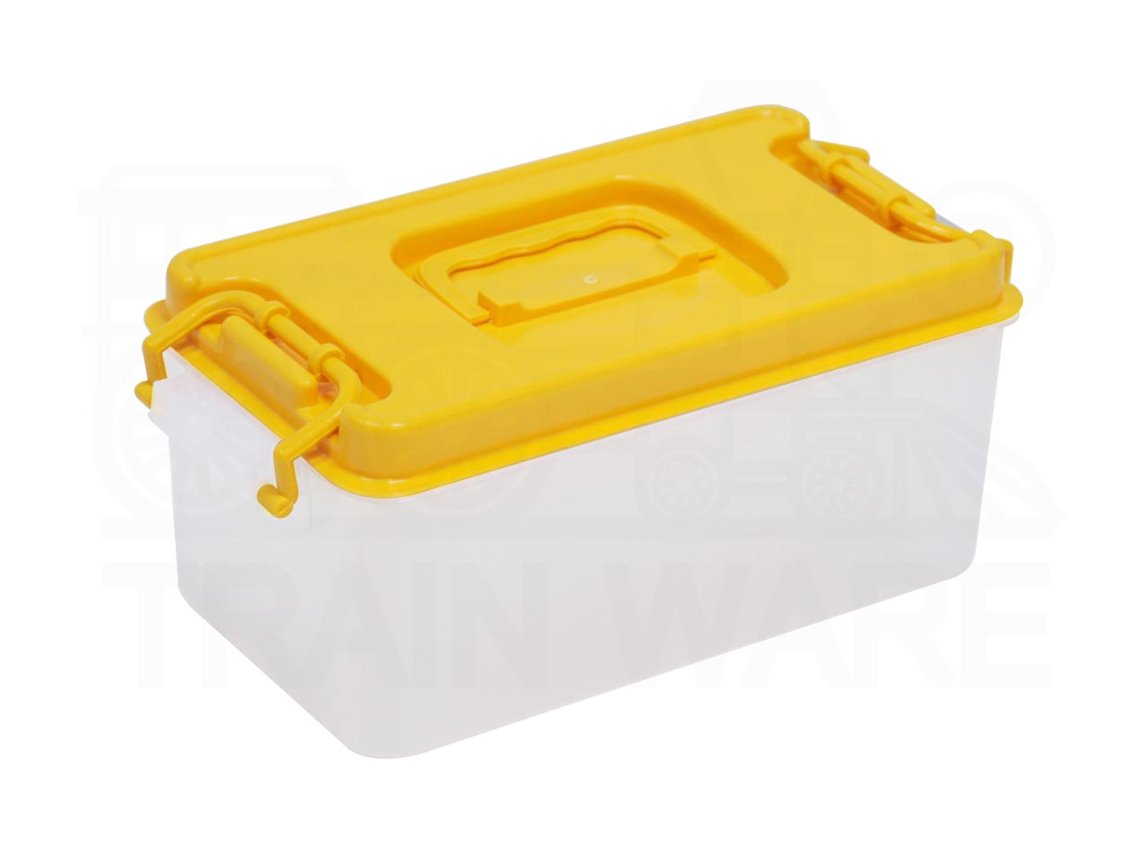 Yellow lock box with handle