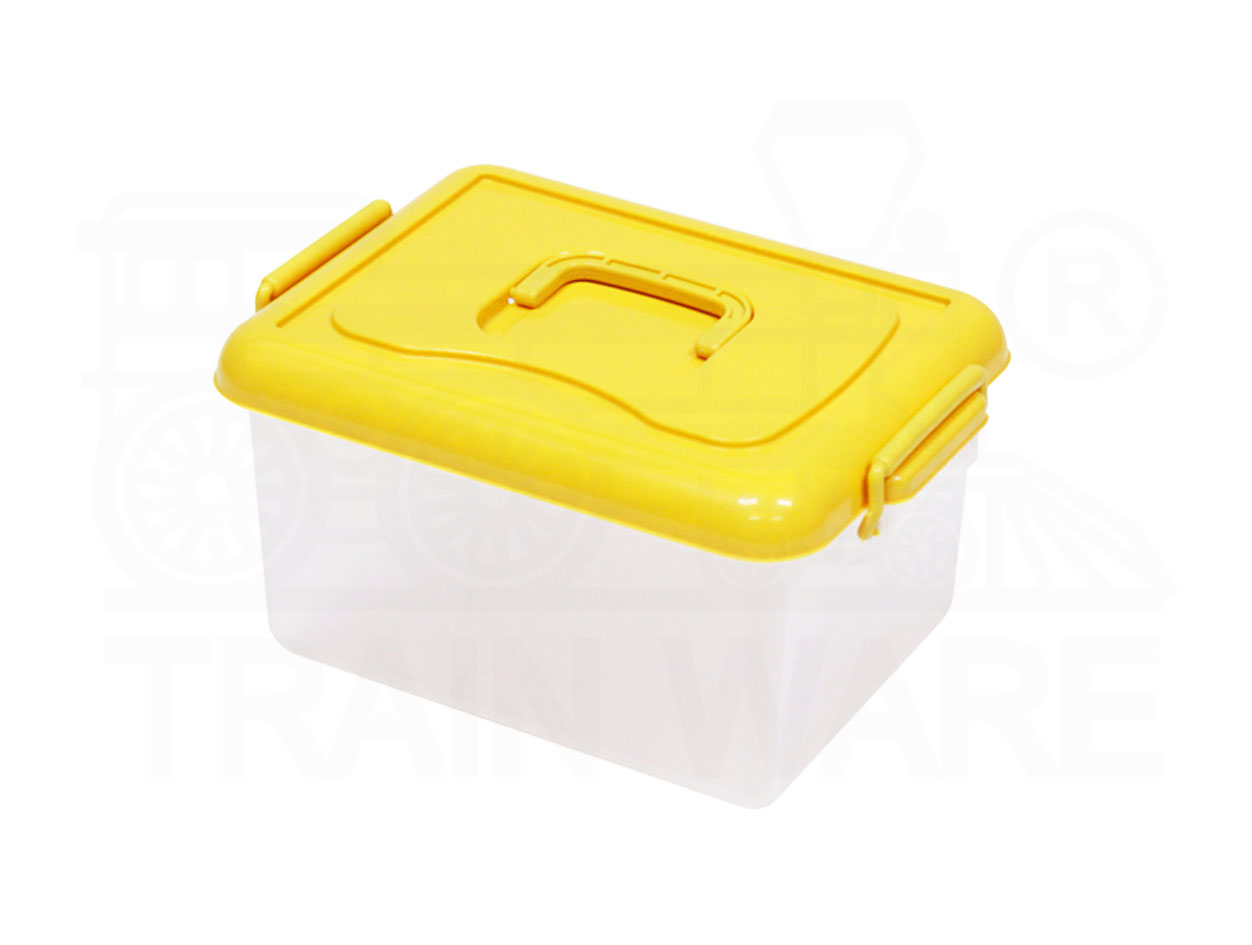 Yellow small lock box with handle